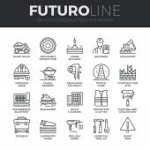 Modern thin line icons set of construction works on site and building tools Premium quality outline symbol collection Simple mono linear pictogram pack Stroke vector logo concept for web graphics