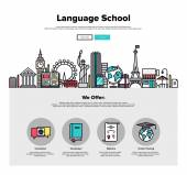 One page web design template with thin line icons of language school training program study foreign language abroad internet lessons Flat design graphic hero image concept website elements layout