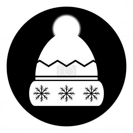 Winter hat symbol button