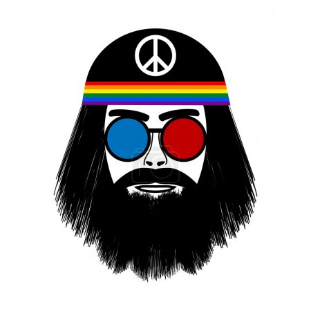 Hippie face icon