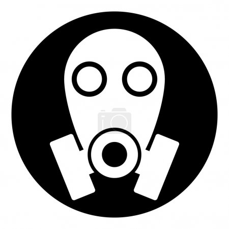 Illustration for Gas mask symbol button on white background. Vector illustration. - Royalty Free Image