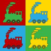 Pop art locomotive symbol icons
