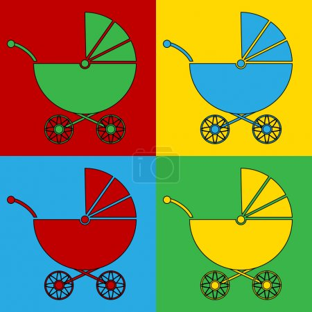 Pop art pram symbol icons.