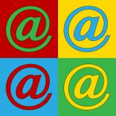 Pop art email symbol icons