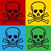 Pop art skull and bones danger sign symbol icons Vector illustration