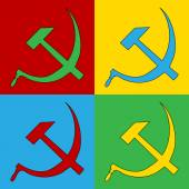 Pop art hammer and sickle symbol icons