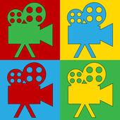 Pop art camera symbol icons