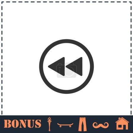 Rewind icon flat. Simple vector symbol and bonus i...