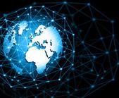 Nejlepší internetové koncepce globální podnikání. Glóbus, zářící linky na technologické zázemí. Elektronika, Wi-Fi, paprsky, symboly Internet, televize, mobilní a satelitní communicationsblue rozostření