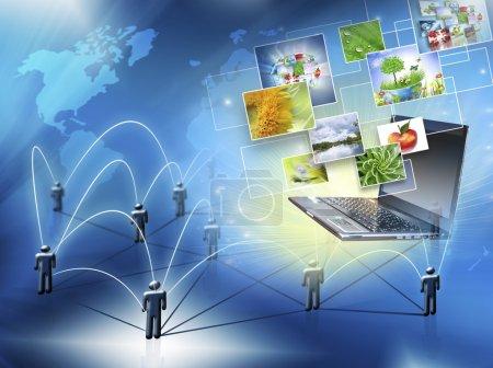 Best Internet Concept of global business. Globe,laptop on technological background. Electronics, Wi-Fi, rays, symbols Internet, television communications