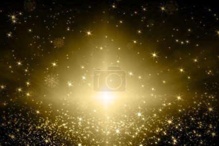 Photo pour Flocons de neige et d'étoiles brillant descendant sur fond bleu - image libre de droit