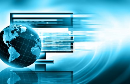 Photo pour Meilleur concept Internet des affaires mondiales. Globe et lignes lumineuses sur fond technologique. Connexion Électronique, Wi-Fi, rayons, symboles Internet, télévision, communications mobiles et par satellite - image libre de droit