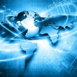 World map on a technological background, glowing l...