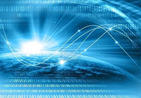 Photo pour Meilleur concept Internet d'entreprise mondiale.Contexte technologique. Électronique, Wi-Fi, rayons, symboles d'Internet, télévision, communications mobiles et par satellite - image libre de droit