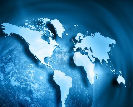 Photo pour World map on a technological background, glowing lines symbols of the Internet, radio, television, mobile and satellite communications. Internet Concept of global business. Elements of this image - image libre de droit