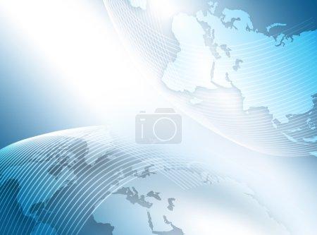 Mejor Concepto de Internet de los negocios globales. Globo, líneas brillantes en el fondo tecnológico. Electrónica, Wi-Fi, rayos, símbolos Internet, televisión, comunicaciones móviles y por satélite