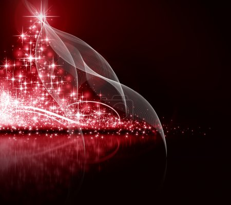 Photo for Christmas red tree, beautiful snowflakes and shining stars - Royalty Free Image