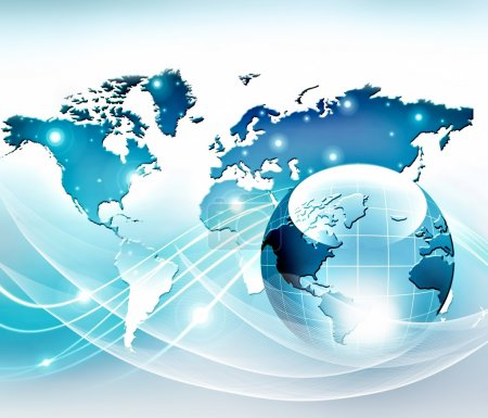 Best Internet Concept of global business. Globe, glowing lines on technological background. Electronics, Wi-Fi, rays, symbols Internet, television, mobile and satellite communications