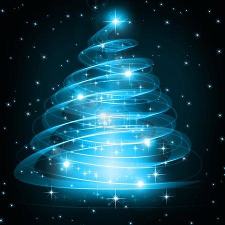 Photo pour Arbre bleu de Noël, beaux flocons de neige et étoiles brillantes. Lumières de Noël - image libre de droit