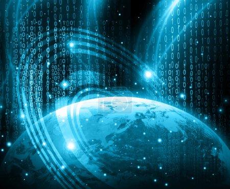 Meilleur concept Internet. Globe, lignes lumineuses sur fond technologique. Électronique, Wi-Fi, rayons, symboles Internet, télévision, communications mobiles et par satellite