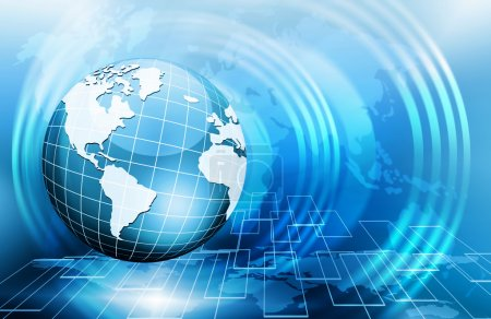 Photo for Best Internet Concept. Globe, glowing lines on technological background. Electronics, Wi-Fi, rays, symbols Internet, television, mobile and satellite communications. Technology illustration - Royalty Free Image