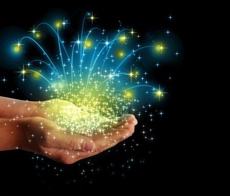 Photo pour Stars et magie dans vos mains - image libre de droit
