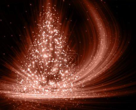 Photo pour Arbre rouge de Noël, beaux flocons de neige et étoiles brillantes - image libre de droit