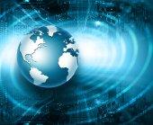 """Постер, картина, фотообои """"Лучший Интернет концепции глобального бизнеса. Глобус, светящиеся линии на технологических фоне. Электроника, Wi-Fi, лучи, символы Интернет, телевидения, мобильной и спутниковой связи"""""""
