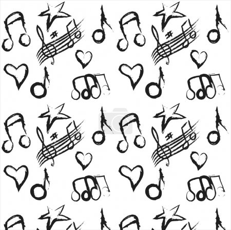 Pattern musical notes grunge colorful background,  illustration