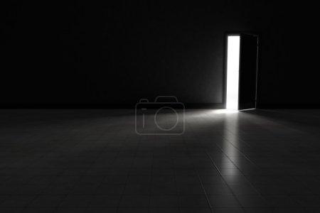 Photo pour Une porte ouverte avec la lumière lumineuse coulant dans une pièce très foncée. Illustration de fond. - image libre de droit