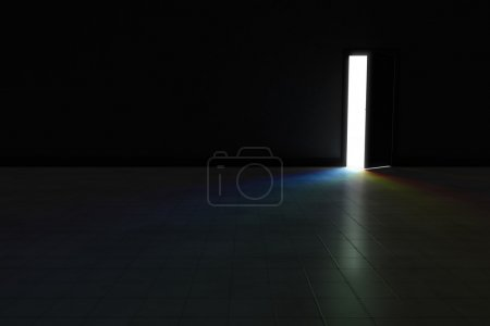 Photo pour An open door with bright rainbow light streaming into a very dark room.  Background Illustration. - image libre de droit