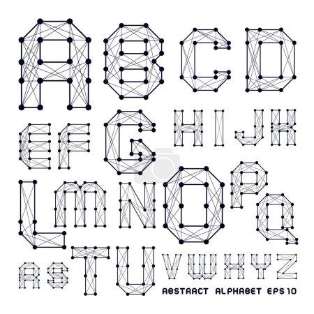 Illustration pour L'alphabet abstrait avec des points et des lignes croisées - image libre de droit