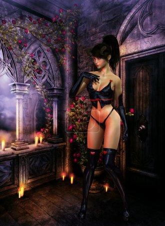 Photo pour Fille démon avec cornes en robe en cuir noir, dans les bottes haut de cuisse, agissant timide dans une pièce pleine de bougies et rambler - image libre de droit