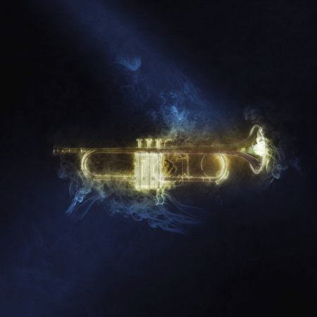 Photo pour Trompette faite de fumée - image libre de droit
