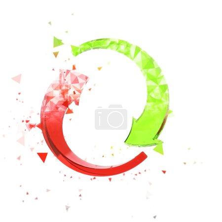 Photo pour Flèches circulaires polygonales - rouge et vert - image libre de droit