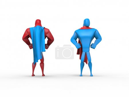 Red and blue superheroes with blue and red capes
