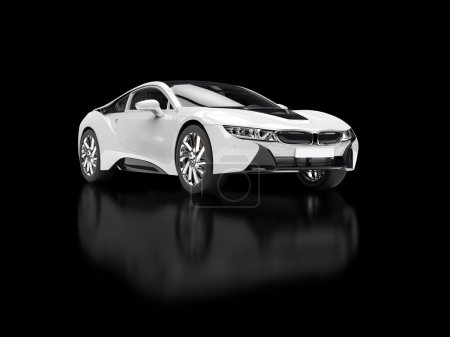 Modern white sports car - isolated on black reflective background.