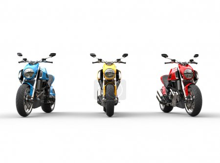 Three sports motorcycles in a row - front view - isolated on white background