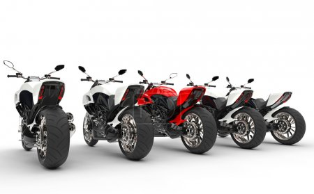 Cool motorcycles - red one stands out - back view