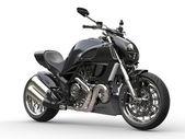Black sports motorcycle - side view  - closeup shot