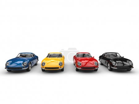 Classic vintage sports cars - far front view