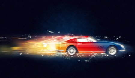 Colorful vintage car - abstract 3D Illustration