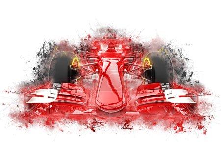 Photo pour Formule rouge une voiture - illustration des éclaboussures de couleur grunge - image libre de droit