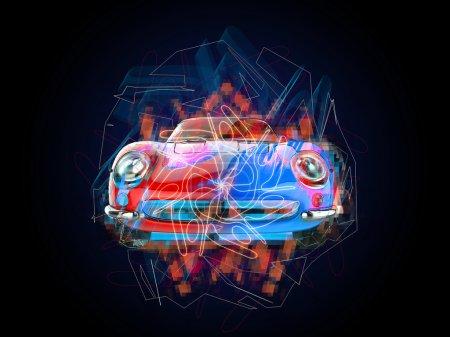 Photo pour Illustration de voiture vintage colorée sur fond noir - image libre de droit