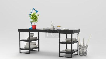 Photo pour Table de travail moderne avec lampe de bureau bleue et belle plante verte - image libre de droit