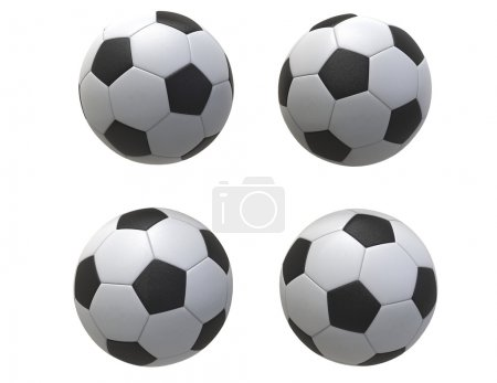 Photo for Four Soccer balls - isolated on white background - Royalty Free Image