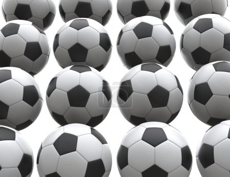 Wall of soccer balls - isolated on white background