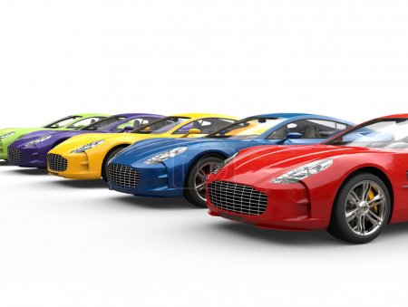 Row of modern colorful sports cars