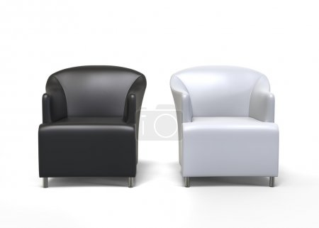 Two armchairs - black an white leather