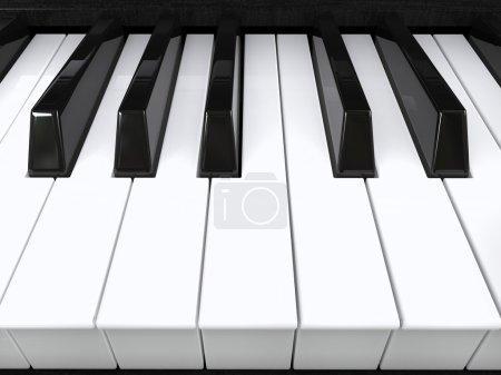 Photo pour Gros plan des touches du piano - isolé sur fond blanc - image libre de droit